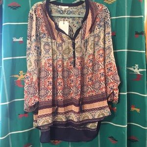 DR2 XL printed hi-lo Henley style tunic
